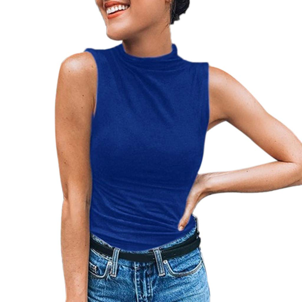 Keliay Cute Womens Tops Summer,Women Sleeveless Turtleneck Solid Casual Blouse Top T Shirt Plus Size Blue