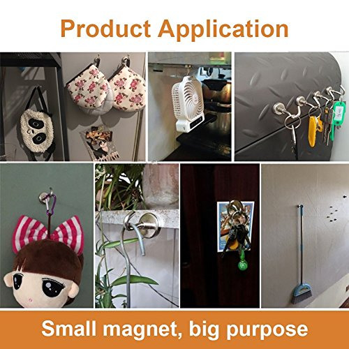 12LBS Heavy Duty Magnetic Hooks, Strong Neodymium Magnet Hook for Home, Kitchen, Workplace, Office and Garage by DIYMAG (Image #3)