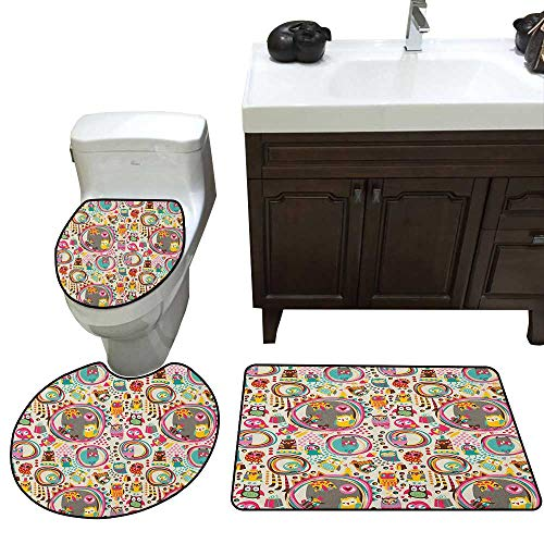 - Moeeze-Home Owl Skidproof Bath Mat Cartoon Style Funny Avian Animals Design with Colorful Dots and Triangles Forest Doodle 3 Piece Toilet mat Set Multicolor