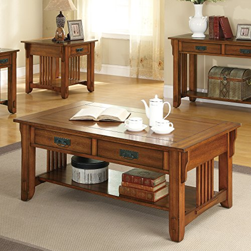 Mission Style Cocktail Table - Coaster Home Furnishings Colton 2-Drawer Coffee Table Warm Brown