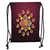 Custom Printed Drawstring Sack Backpacks Bags,Diwali,Festive Celebration Tribal Religious Sacred Flowers Burning Candles Print,Orange Yellow Soft Satin,5 Liter Capacity,Adjustable String Closure,The S