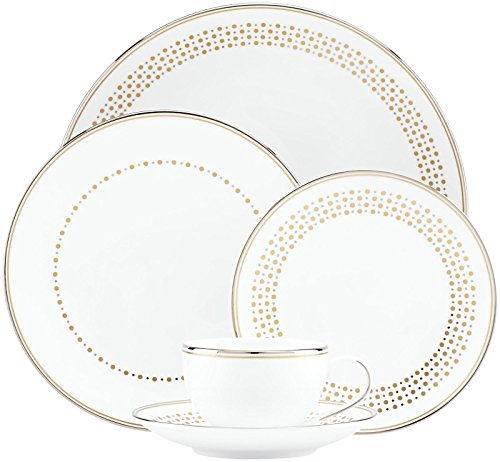 Kate Spade New York Richmont Road Dinnerware 5-Piece Place Setting, White Bone China with Platinum and Gold Accents