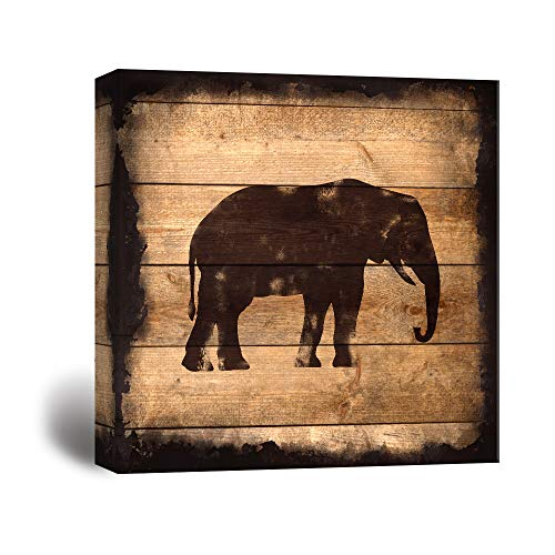 Square Elephant Silhouette on Rustic Wood Board Texture Background