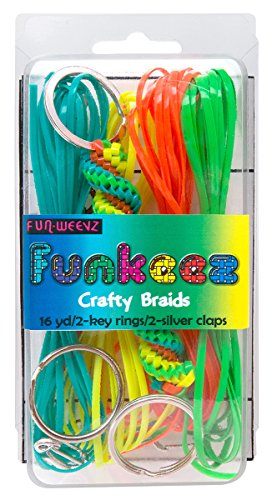 - Fun Weevz Funkeez Crafty Braid Kit with 16mm Twisted Green Turquoise Yellow Red Key Ring