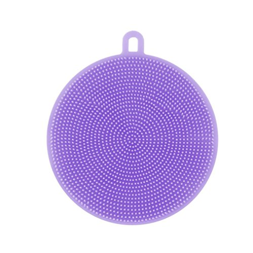 Silicone Dish Washing Sponge, Shubuy Antibacterial Silicone Non Stick Dish washing Dish Brush Sponge Towel Scrubber For Kitchen Wash Pot Pan Dish Bowl / Wash Fruit and Vegetable (Purple)