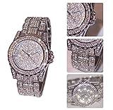 Kinglory Luxury women watches rhinestone ceramic crystal Quartz watches Lady Dress Watch (Silver)