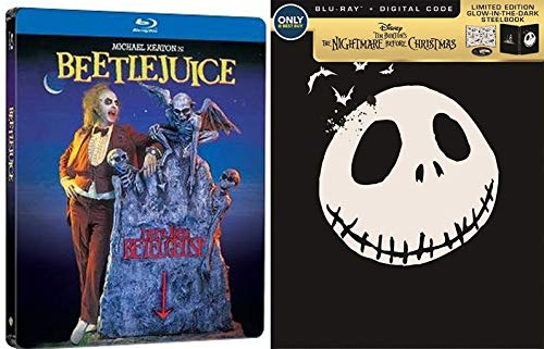 Monsterpiece Double Feature Steelbook The Nightmare Before Christmas Glow in the Dark Blu Ray Animated Limited Edition Movie Tim Burton + Beetlejuice Collectible 2 Set Bundle -