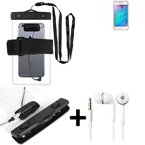Estuche estanco al agua con entrada de auriculares para Samsung Galaxy J1 + auricular incluido, transparente | Trotar bolsa de playa al aire libre caja brazalete del teléfono caso de cáscara bajo play