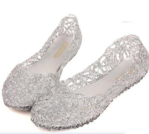 Cristal Cómodo Sandalias Talla Sandalias Plata Black Gold de Mujer Silver 41 36 Wild para Planas Pink Awp5gq4