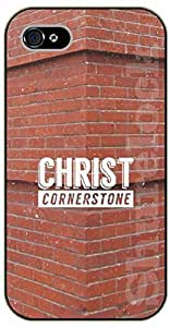 For Apple Iphone 4/4S Case Cover Christ cornerstone - black plastic case / Jesus, God, Lord