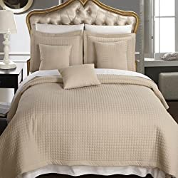 10 Piece CAL KING Size, Beige / Light Brown Color, Super Luxurious Wrinke Free Reversible Checkered Coverlet / Quilt Bedding Ensemble Set with Decorative Pillows and Bed Sheet Set