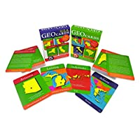 GeoToys - GeoCards World and GeoCards USA - Set of 2 Geography Card Games for Home, School and Travel - Learning Resources and Educational Toys, Flash Cards - Kid Toys for Ages 4 and Up