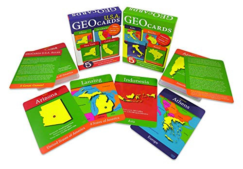 - GeoCards Set of 2 - GeoCards World and GeoCards USA - Educational Flash Cards and Card Games from Geotoys