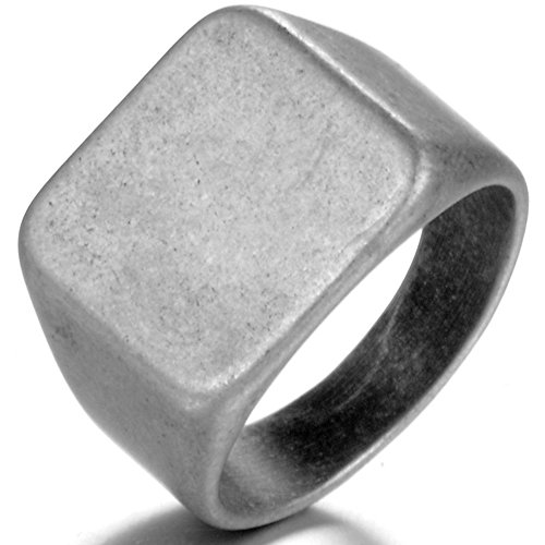 ess Steel Signet Ring Black Silver Classical Cocktail Husband Father Valentine (Oxidized Stainless Steel, 10) ()
