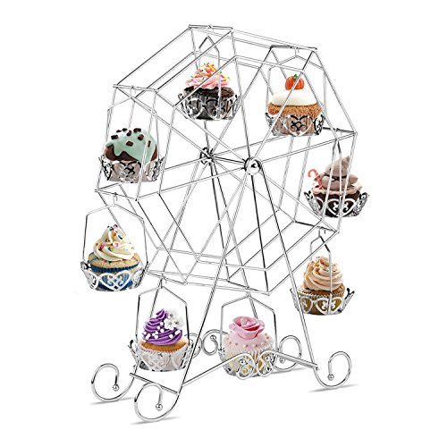 INTEY Silver Cupcake Stand, Ferris Wheel Cupcake Stand, Dessert Server for Carnival, Birthdays, Weddings and Party, 8 Cupcakes (Wheel Ferris Decoration)