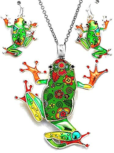 "DianaL Boutique Large Emerald Green Frog Pendant Necklace and Earrings Set 24"" Chain"