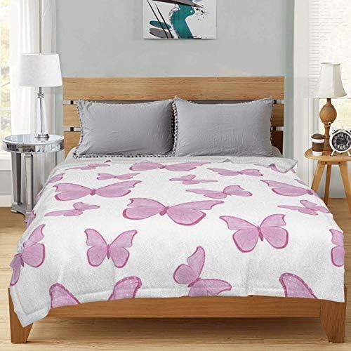 Couverture polaire à motif papillon d'eau ultra douce et moelleuse pour canapé, lit et salon 127 x 101,6 cm
