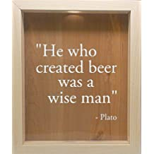 Wooden Shadow Box Wine Cork/Bottle Cap Holder 9x11 - He Who Created Beer Was A Wise Man (Willow w/White)