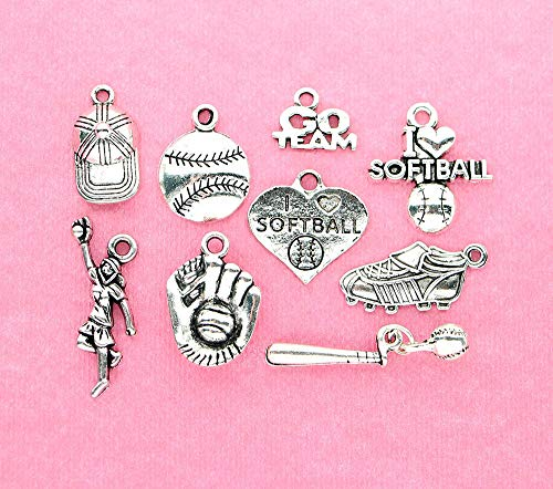 Softball Charm Collection Antique Silver Tone 9 Different Charms for Jewelry Making Bracelet Necklace DIY Crafts ()