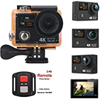 4K Wifi Sports Action Camera, 1080P Full HD Dual-screen Action Camera 4K/25fps 12MP Waterproof 170° Wide Angle with 2.4G Remote Control, 2 Pcs 1050mAh Rechargeable Batteries, 23 Accessories Kit(Black)