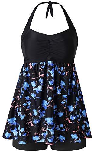 - Plus Size Swimsuits for Women Two Piece Tankini Swimwear Bathing Suit Floral Print (Black & Blue Flower, US 14/48)
