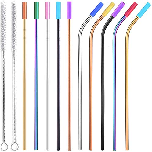ALINK Colored Stainless Steel Straws with Silicone Tips, 10.5 Inches Long Reusable Metal Straws for 20 30 OZ Yeti…