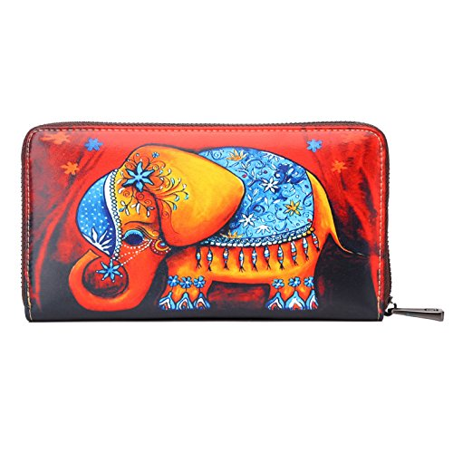APHISON Card Holder Zipper Purse Women Phone Clutch Wallet Painting Wristlet with Wrist Strap (0181A) by APHISON