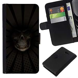 // PHONE CASE GIFT // Moda Estuche Funda de Cuero Billetera Tarjeta de crédito dinero bolsa Cubierta de proteccion Caso Sony Xperia M2 / Grim Reaper Death Close Up /