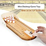 Wooden Mini Table Bowling Game for Kids Adult,Best Family Party Play Board Desktop Toys For Bowling Favors Groups,Wood Finger Bowling Machine Game Set,Top Rated Games Tobbles Toys for Adults