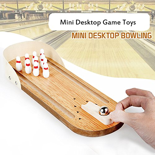 KateDy Wooden Mini Bowling Game Set with Lane for Your Little Players,Home Office Desk Interactive Tabletop Bowling Toy for Kids Adults Stress Relief&Intelligence Development&Party Favor(1pc)