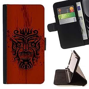 Momo Phone Case / Flip Funda de Cuero Case Cover - Dragón tribal indio nativo Red Pattern - Samsung ALPHA G850