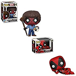 Funko POP! Marvel Comic Deadpool: Deadpool as Bob Ross and Deadpool Laying Down Bobble-Head Toy Action Figure - 2 POP BUNDLE