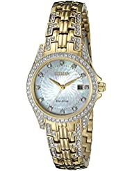 Citizen Womens Eco-Drive Watch with Crystal Accents, EW1222-84D