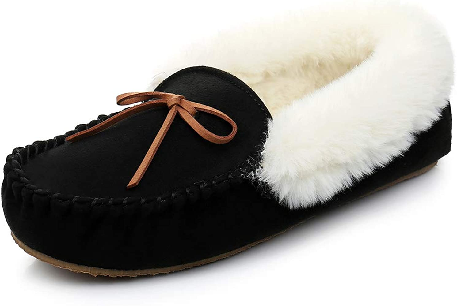 Faux Fur Lined Suede Moccasin Slippers