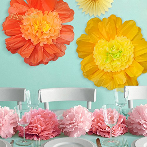 Nicrolandee 24 6 Pack Set Large Tissue Paper Flowers Import It All