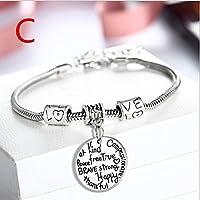 UNKE Engraved Infinity Bracelet Alloy Expandable Bangle for Family Christmas Gifts ,C