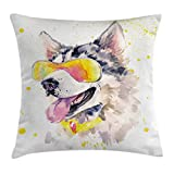 Ambesonne Animal Throw Pillow Cushion Cover, Funny Husky Dog with Sunglasses Humorous Cute Watercolor Cool Puppy Picture, Decorative Square Accent Pillow Case, 16 X 16 inches, Yellow Grey Beige