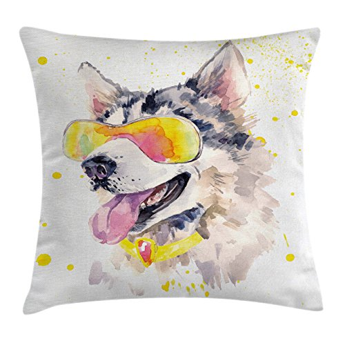 Ambesonne Animal Throw Pillow Cushion Cover, Funny Husky Dog with Sunglasses Humorous Cute Watercolor Cool Puppy Picture, Decorative Square Accent Pillow Case, 16 X 16 inches, Yellow Grey Beige by Ambesonne