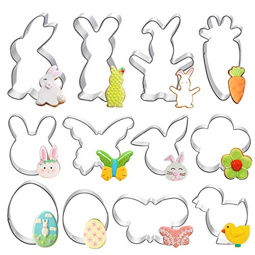 HAKACC Easter Biscuit Cutter, 12PCS Cookie Cutters Stainless Steel Cookie Mould for Children to Make Easter Biscuits