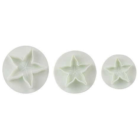 joyliveCY 3pcs/set estrella de cinco puntas Compatible Conma de hoja plástico Cake Sugarcraft émbolo