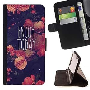 BullDog Case - FOR/Apple Iphone 5 / 5S / - / enjoy today motivational vignette /- Monedero de cuero de la PU Llevar cubierta de la caja con el ID Credit Card Slots Flip funda de cuer