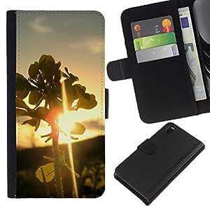 KingStore / Leather Etui en cuir / Sony Xperia Z3 D6603 / Naturaleza Hoja Sunset