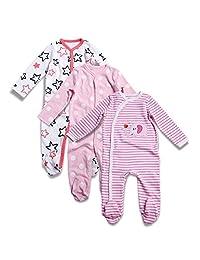 OPAWO Baby Girls' Footed Sleeper Pajamas 3 Pack