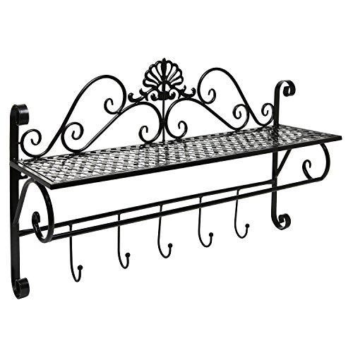 beautiful black metal decorative wall mounted storage shelf w 5 hooks bathroom towel rack. Black Bedroom Furniture Sets. Home Design Ideas