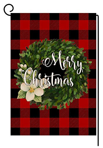 BLKWHT Red Black Buffalo Boxwood Wreath Small Garden Flag Vertical Double Sided Farmhouse Merry Christmas Burlap Yard Outdoor Decor 12.5 x 18 Inches (167245) (Garden House Flags)