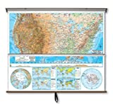 Universal Map 28077 US-World Advanced Physical Wall Map Combo - Backboard