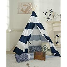 DalosDream Indoor Outdoor Navy Striped Indian Playhouse Toy Teepee for Kids