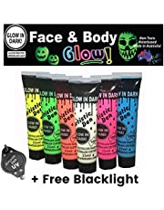 Glow In The Dark Face And Body Paint - Set Of 6 x 15ml Tubes + Free Mini Pocket Blacklight