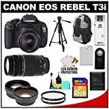 Canon EOS Rebel T3i Digital SLR Camera Body and EF-S 18-55mm IS II Lens with 75-300mm Lens + 16GB Card + .45x Wide Angle and 2x Telephoto Lenses + Tripod + Case + Battery + Remote + (2) Filters + Accessory Kit, Best Gadgets