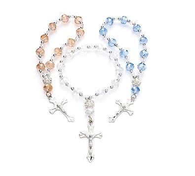 7701dab006e Cristal pulsera de perlas de elástico de la mujer Cruz Rosario w plata cruz  (